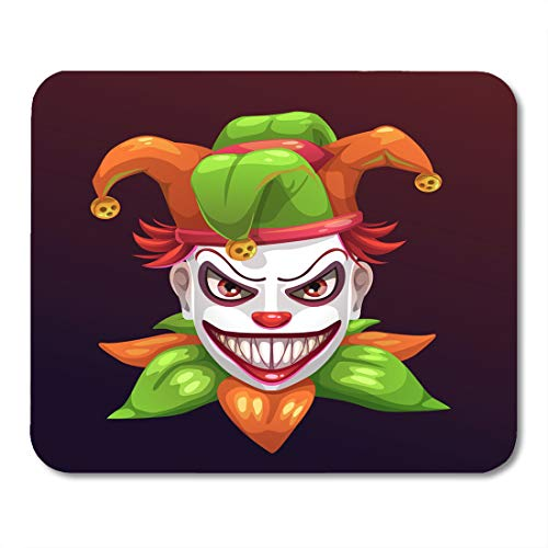 Emvency Mouse Pads Celebration Red Bad Crazy Creepy Joker Face Angry Clown with Evil Smile on The Black Boo Character Mouse Pad 9.5