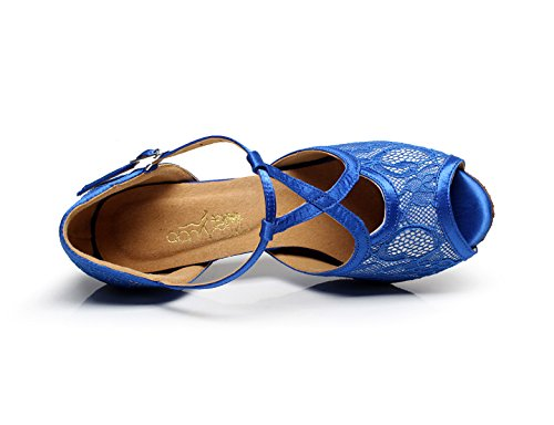Altos Tango Baile Zapatos Salsa Chacha De JSHOE Blue10cm Samba Mujeres Las T América Encaje Tacones Jazz De Sandalias Correa Moderno ICwqExPU