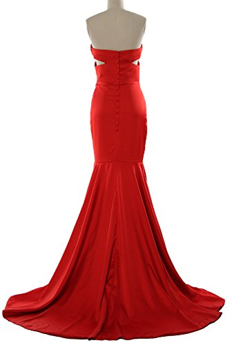 MACloth Women Mermaid Strapless Prom Dress Cut Out Wedding Formal Evening Gown Marfil