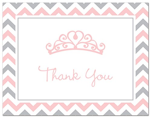 50 Princess Tiara Thank You Cards (Pink-Grey)