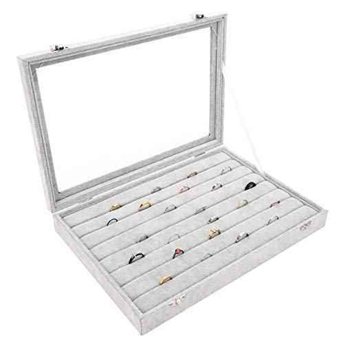 Autoark Ice Velvet Clear Lid 7 Slots Jewelry Rings Earrings Tray Showcase Display Organizer,AJ-023 ()