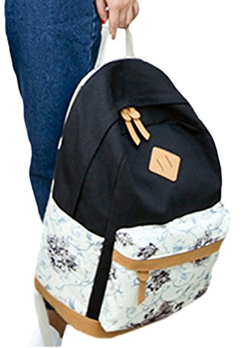 DATO Damen Vintage Canvas Rucksäcke Mädchen Schulrucksack Teenager Blumen Schultaschen Groß Freizeitrucksack Baumwollstoff Schultasche Daypacks Schwarz