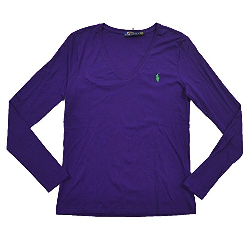RALPH LAUREN Womens Long Sleeve V Neck Jersey Tee (Medium, RL Purple) (Lauren Jersey Ribbed Ralph)