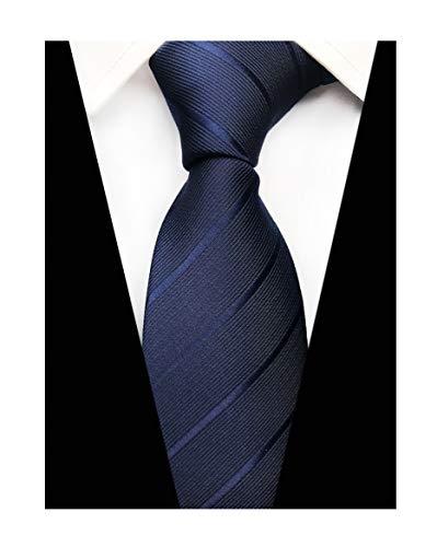 Mens Italian Skinny Striped Silk Tie Elegant Textured Solid Necktie in Navy ()