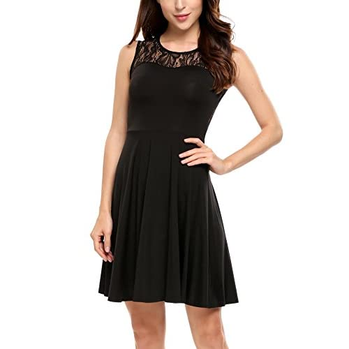 ANGVNS Women's Sleeveless Floral Lace A-Line Pleated Cocktail Party Dress