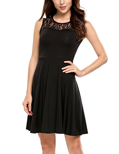 Black Party Pleated Floral Women's Lace Dress Sleeveless ANGVNS Line A Cocktail TxU8wvxCqg