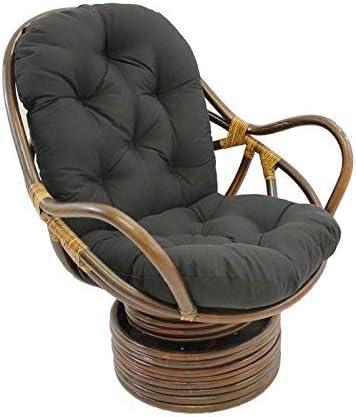 International Caravan Furniture Piece Swivel Rocker with Twill Cushion, Black