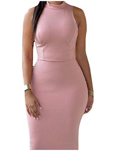 Magro Ufficio Mini Rosa Coolred Solido Matita Aderente Vestito Backless Womens tX7wqCc