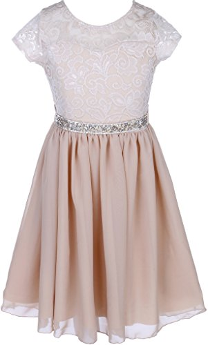 Flower Girl Dress Lace Cap Sleeve Top Chiffon Tea Length for Big Girl Champagne 6 JK20.53S