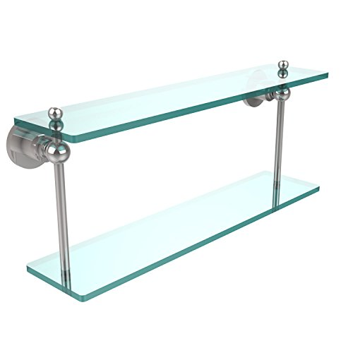 Allied Brass AP-2/22-PC Astor Place Collection 22 Inch Two Tiered Glass Shelf Polished Chrome