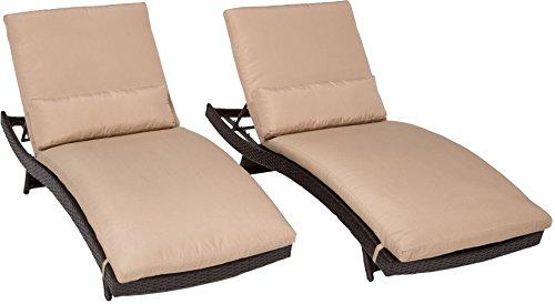 TK Classics Bali Chaise Outdoor Wicker Patio Furniture, Set of 2, Wheat Wicker Bali Chaise