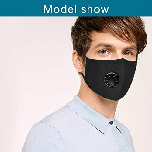 YueLove 3PC Face Bandanas Cotton with Breathing Valve with 6pcs Activated Carbon Fi-l-t-er Replaceable F-i-lt-er-s Haze Dust Face Health for Adults