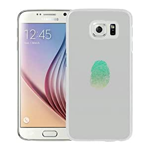 S6 Cover Case,Finger Print Unlock Green Art Illust Minimal White Personalized Cool Design Samsung Galaxy S6 Case