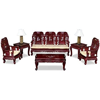 China Furniture Online 6 Piece Imperial Living Room Set In Dark Cherry Rosewood