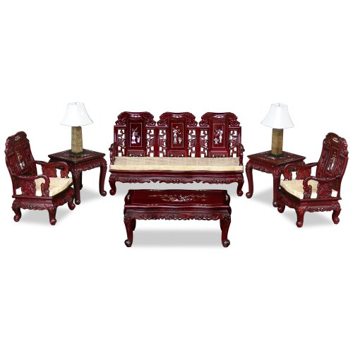 ChinaFurnitureOnline 6 Piece Imperial Living Room Set in Dark Cherry Rosewood ()