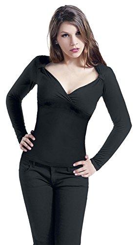 Fashion Victim Fashion V-Top Long Manica lunga donna nero L