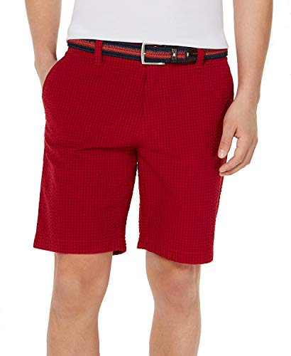 Tommy Hilfiger Mens Seersucker Gingham Chino Shorts Red - Gingham Seersucker Shorts