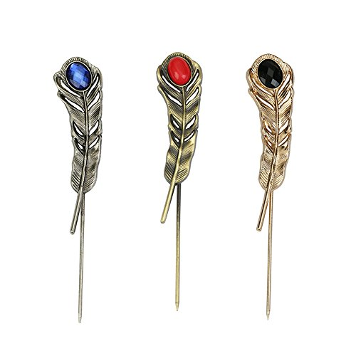 - Sppry Vintage Feather Brooch Lapel Pins Set for Men Suit, Metal Crystal, 3 Pcs (Silver, Bronze, Gold)