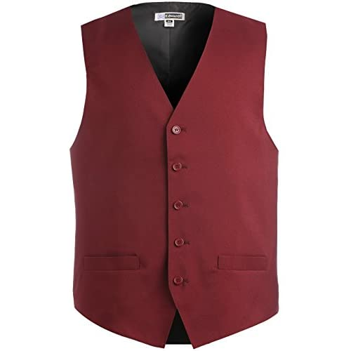 Cheap Ed Garments Men's Textured Weave Fully Lined Economy Vest, BURGUNDY, Small R