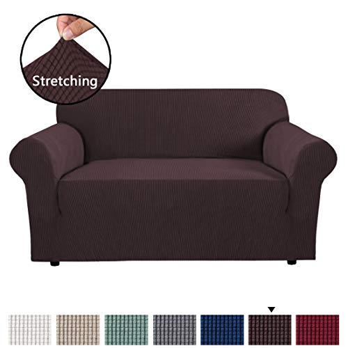 H.VERSAILTEX High Stretch 1 Piece Jacquard Lycra Loveseat Sofa Cover/Slipcover Soft Spandex Form Fit Slip Resistant Stylish Furniture Protector Coach Covers Machine Washable, Sofa 2 Seater, Chocolate ()