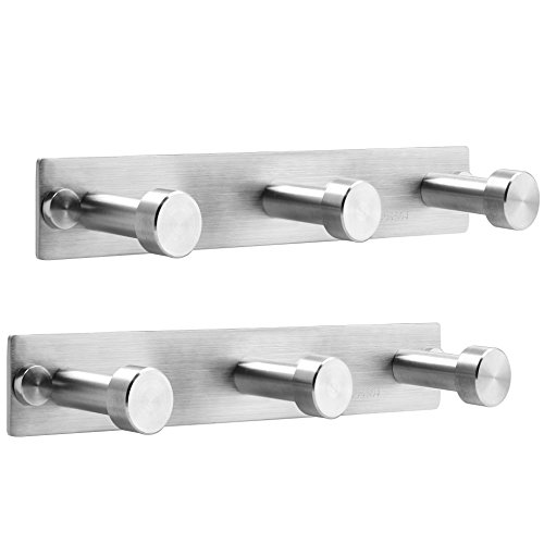 WEBI 2 Set SUS 304 3 Peg Round Clou Robe Hat Coat Bath Kitchen Towel Hook Garment Rack Hanger Rail Holder, Wall Mount Closet Clothing Bathroom Garage Home Organization Storage, Brush finish I-TDG03-2 - Mounting Bracket Option 2 Rack