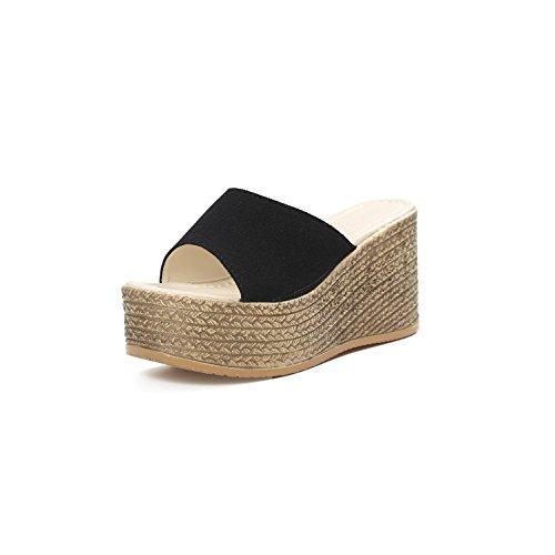 Mujeres Talón Inferior Ocasional Sandalias Plataforma Zapatos Manera Black De Las La Comodidad Verano Deslizadores Cuña Alto Impermeable Del Playa Parte Gruesa Lvyuan 0xwqOpXvBW