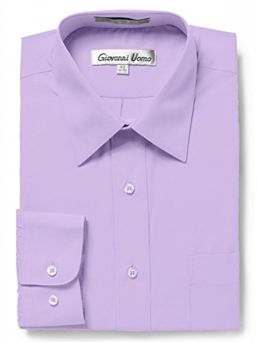 Lavender Twill Shirt - GIOVANNI UOMO Men's Traditional Fit Solid Color Dress Shirt Lavender 17 34/35