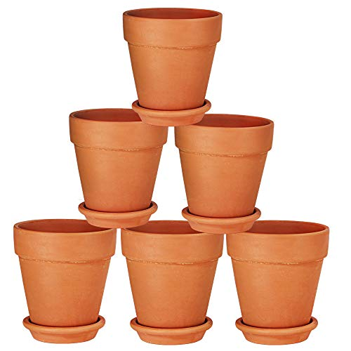 Terra Cotta Pots with Saucer- 6-Pack Large Terracotta Pot Clay Pots 5'' Clay Ceramic Pottery Planter Cactus Flower Pots Succulent Pot Drainage Hole- Great for Plants,Crafts,Wedding Favor (5 inches) ()