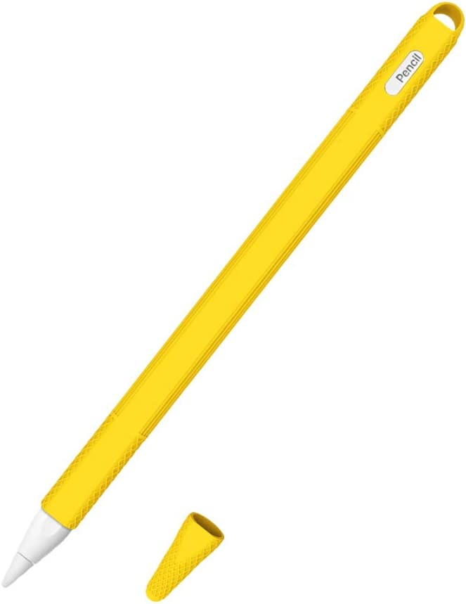 AWINNER Silicone Case Compatible with Apple MU8F2AM/A Pencil (2nd Generation) Holder Sleeve Skin Pocket Cover Accessories for iPad Pro (3rd Generation),Protective Nib Covers (Yellow)