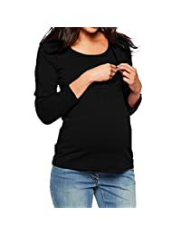 Doublelift Women Maternity Clothes Long Sleeve T Shirts Solid Color Nursing Tops Tunic Blouse
