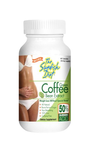 Green Coffee Bean Extract, 60 capsules with 800 mg GCA per serving, Weight Loss Without special diets. All Natural Weight Loss supplement Burns Fat and Sugar 100% Pure by The Swedish Diet
