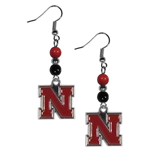 NCAA Nebraska Cornhuskers Fan Bead Dangle Earrings (Nebraska Fan)