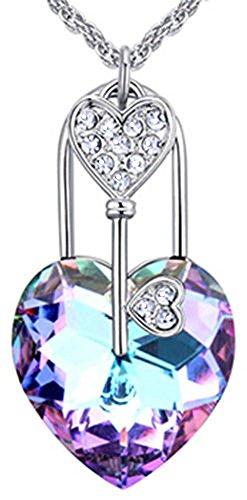 VPKJewelry Heart Love Key Lock Necklace Chain Swarovski crystal Pendant Gold PlatedBox (Vitrail Light) (Love Necklace Key)
