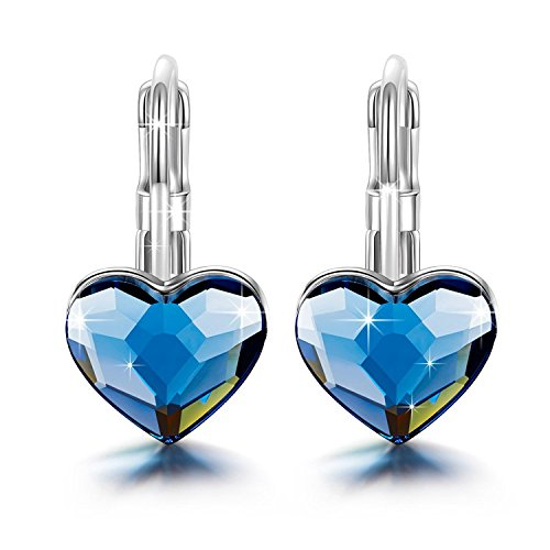(Brilla Gifts for Mother's Day Hoop Earrings Stud Heart Love, Womens Fashion Jewelry Swarovski Elements Crystal Blue)