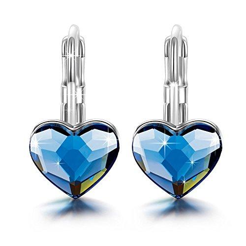 Brilla Gifts for Women Hoop Earrings Stud Heart Love, Womens Fashion Jewelry Swarovski Elements Crystal Blue