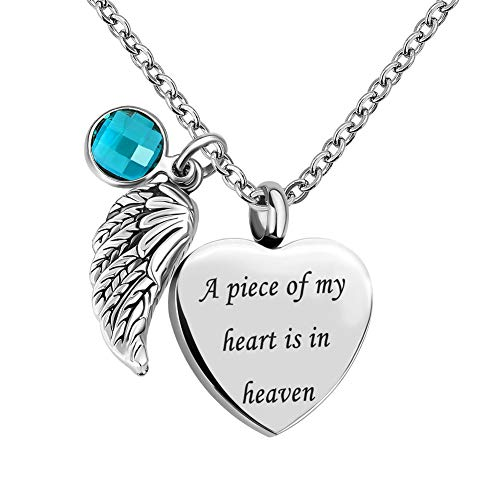 Sug Jasmin Jan-Dec Birthstone Angel Wings Heart Cremation Urn Necklace for Memorial Jewelry A Piece of My Heart is in Heaven Ashes Pendant with Fill Kit (December)