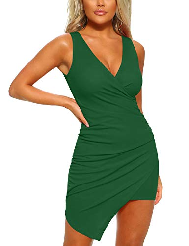 Mizoci Women's Casual Sleeveless Ruched Cocktail Party Dresses Bodycon Mini Sexy Club Dress,XX-Large,Dark Green
