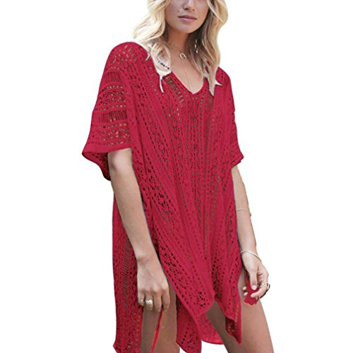 Sunfei Women Bathing Beach Cover Up Dress Bikini Swimsuit Swimwear Crochet Smock - Is Swimsuits Material Of What Out Made