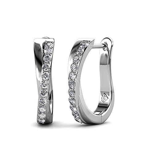 Cate & Chloe Amaya Adventurous 18k White Gold Hoop Earrings with Swarovski Crystals, Sparkling Silver Twisted Hoops Earring Set w/Solitaire Round Cut Diamond Crystals, Anniversary Jewelry - MSRP $119 by Cate & Chloe