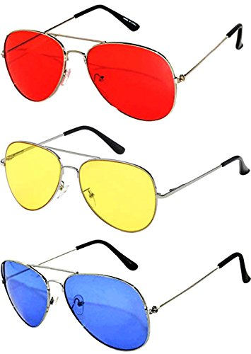 3 Pack Aviator Sunglasses UV Protection Color Lens Metal Frame Unisex (3-pack-avi-red-yell-blu, Colored) by Aviator Sunglasses (Image #1)