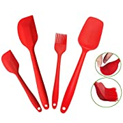 "Amazon Lightning Deal 92% claimed: Silcony Set of 4 Pure Silicone Heat Resistant Spatulas, Spoon, Basting Pastry Brush (11""-8.4"") Perfect for Baking, Mixing, Flipping, Stirring, Battering, Marinating, Decorating Food & Much More..."