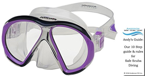 Atomic Subframe Mask color Clear/Purple - Regular Fit Ultra Clear Tempered Glass Lenses 2 Window Black Silicone Stainless Steel Sub Frame Diving Bundle with Andersons Scuba Safety Guide