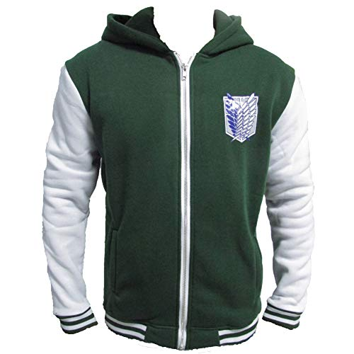 (Unisex Hooded Sweatshirt Attack on Titan Cosplay Costume, Green Zip-up Hoodie Sweater Jacket Coat Adult)
