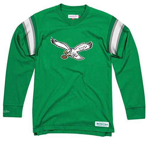 Mitchell & Ness Mens Philadelphia Eagles Team Captain V-Neck Green/White Size XL