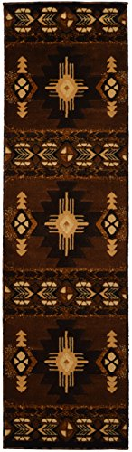 Runners Western Rug - Rugs 4 Less Collection Southwest Native American Indian Runner Area Rug Design R4L 318 Chocolate / Brown (2'x7')