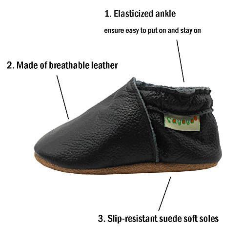 Sayoyo Baby Soft Sole Shoes Genuine Leather First Walker Infant Toddler Moccasins(12-18 Months, Black) by Sayoyo (Image #2)