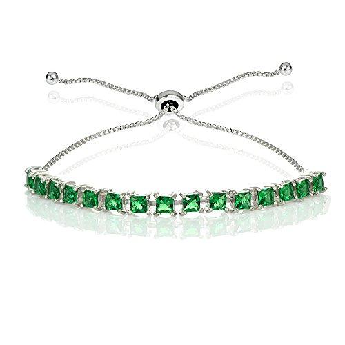 (GemStar USA Sterling Silver 3mm Simulated Emerald Princess-cut Adjustable Bolo Tennis Bracelet)