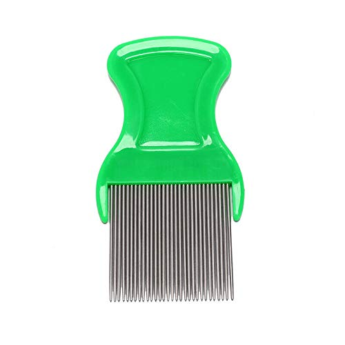 (stainless steel combs for head lice dectection kids pet flea cootie comb BR (color - green))
