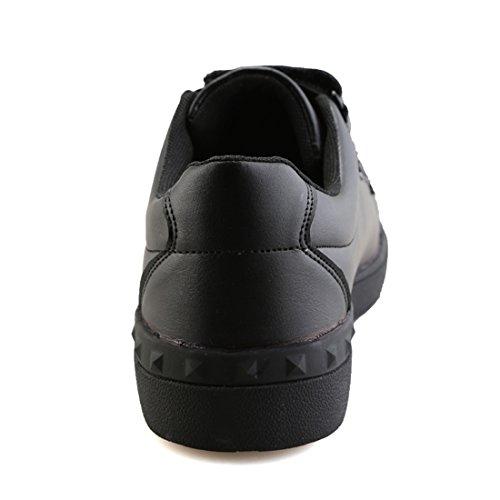 Xiafen Mens Autunno Bianco Velcro Comodo Casual Moda Scarpe Da Ginnastica Nere