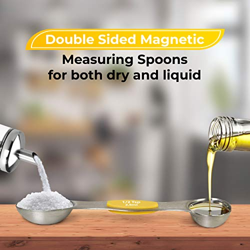 Stainless Steel Measuring Cups and Spoons Set of 13 Pcs - 5 Nesting Cups and 7 Stackable Spoons and 1 Leveler - Durable Portable Kitchen Measuring Kit for Liquid Wet and Dry Ingredients